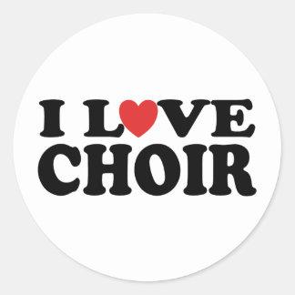 I Love Choir Round Stickers