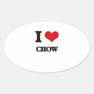 I love Chow Oval Sticker