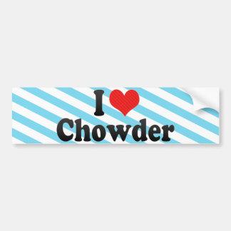 I Love Chowder Car Bumper Sticker