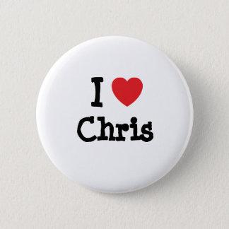 I love Chris heart custom personalized Pinback Button