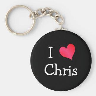 I Love Chris Basic Round Button Keychain