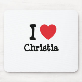I love Christia heart T-Shirt Mouse Pad