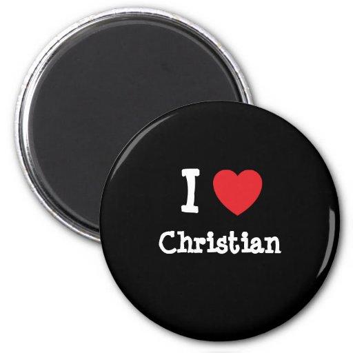 I love Christian heart T-Shirt 2 Inch Round Magnet