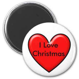 I love Christmas 2 Inch Round Magnet