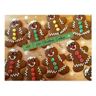 I Love Christmas Cookies - Colorful Gingerbread Postcard
