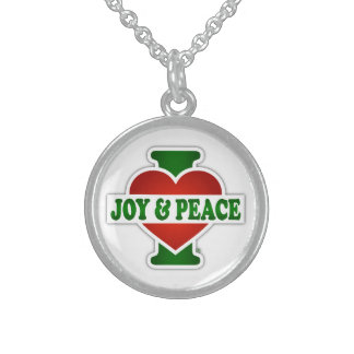 I Love Christmas Joy And Peace Round Pendant Necklace