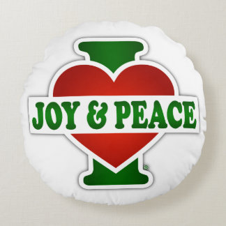 I Love Christmas Joy And Peace Round Pillow