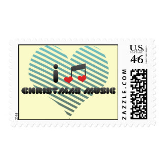I Love Christmas Music Postage Stamp
