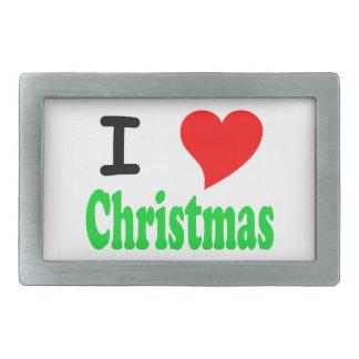I Love Christmas Rectangular Belt Buckle
