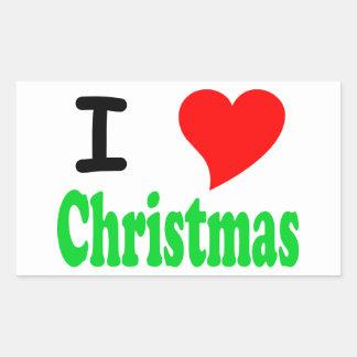 I Love Christmas Rectangular Sticker