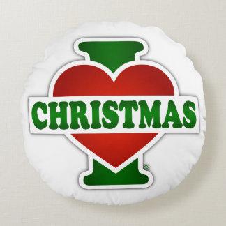 I Love Christmas Round Pillow