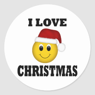 I Love Christmas Smiley Face Classic Round Sticker