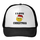 I Love Christmas Smiley Face Mesh Hat