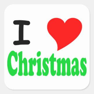 I Love Christmas Square Sticker