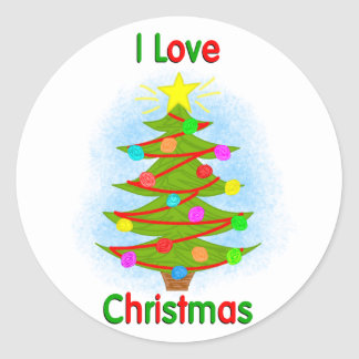 I Love Christmas Round Sticker