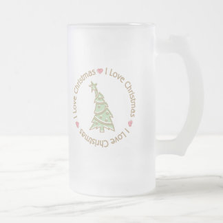 I Love Christmas Sweet Pastel Christmas Tree Frosted Glass Beer Mug