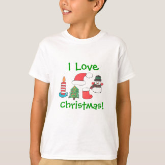 """I LOVE CHRISTMAS "" TEE WITH XMAS ITEMS"