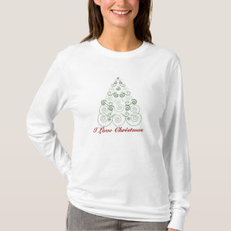 I Love Christmas, tree made of swirls in green T-Shirt