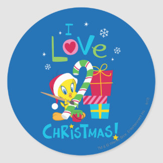 I Love Christmas - TWEETY™ Classic Round Sticker