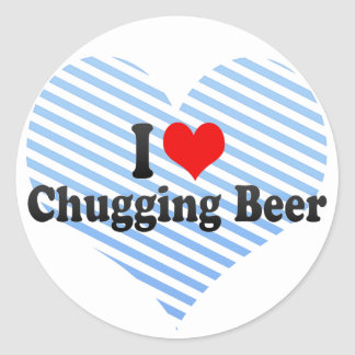 I Love Chugging Beer Classic Round Sticker