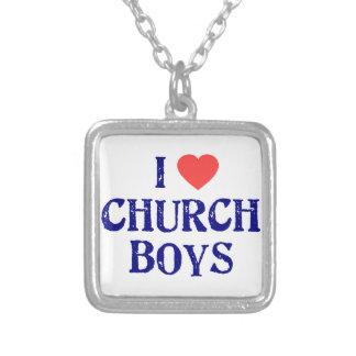 I love church boys square pendant necklace
