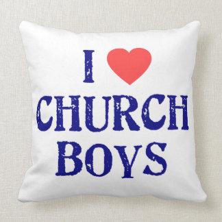I love church boys throw pillow