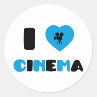 I Love Cinema Classic Round Sticker