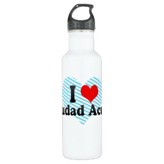 I Love Ciudad Acuna, Mexico Water Bottle