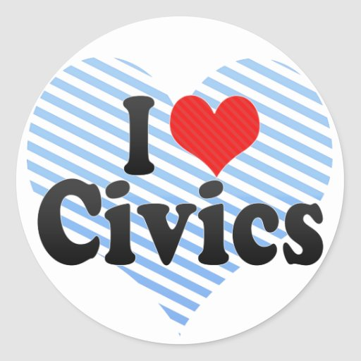 I Love Civics Classic Round Sticker