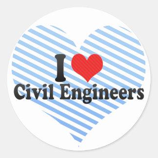 I Love Civil Engineers Round Stickers