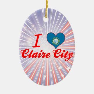 I Love Claire City, South Dakota Double-Sided Oval Ceramic Christmas Ornament