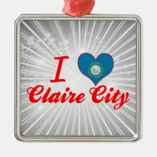 I Love Claire City, South Dakota Square Metal Christmas Ornament