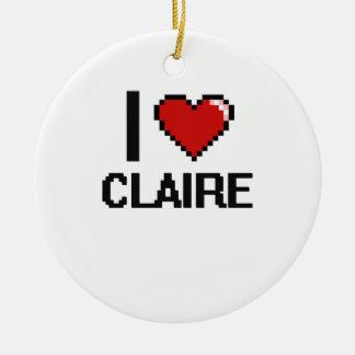 I Love Claire Digital Retro Design Double-Sided Ceramic Round Christmas Ornament