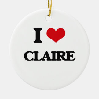 I Love Claire Double-Sided Ceramic Round Christmas Ornament