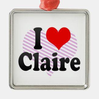 I love Claire Square Metal Christmas Ornament