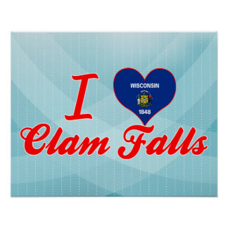 I Love Clam Falls, Wisconsin Poster