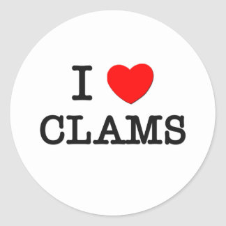 I Love CLAMS ( food ) Round Sticker