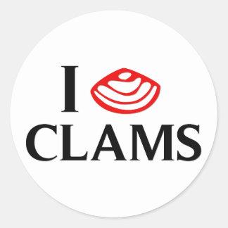 I Love Clams Round Sticker