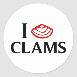 I Love Clams Stickers