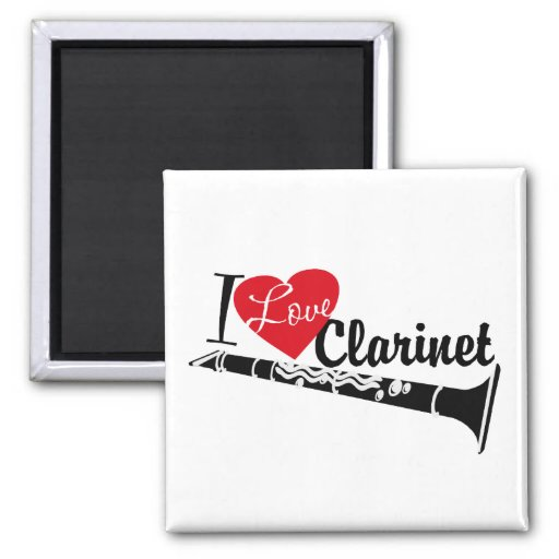 I Love Clarinet 2 Inch Square Magnet