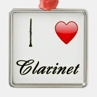I Love Clarinet Christmas Ornaments