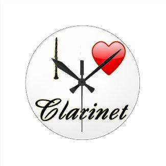 I Love Clarinet Round Clock