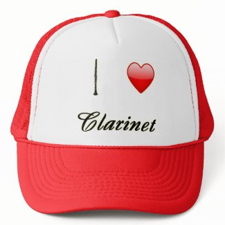 I Love Clarinet with Heart Hat