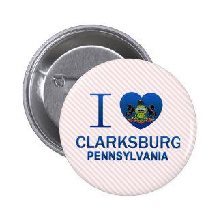 I Love Clarksburg, PA Pinback Buttons