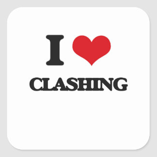 I love Clashing Square Sticker