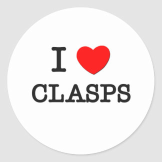 I Love Clasps Round Stickers