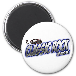 I Love CLASSIC ROCK music 2 Inch Round Magnet
