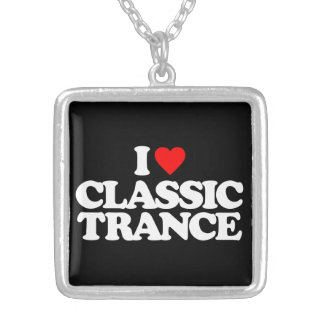 I LOVE CLASSIC TRANCE SILVER PLATED NECKLACE