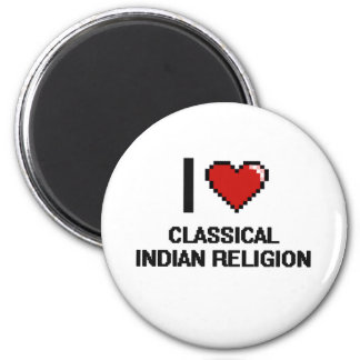 I Love Classical Indian Religion Digital Design 2 Inch Round Magnet
