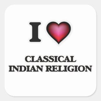 I Love Classical Indian Religion Square Sticker